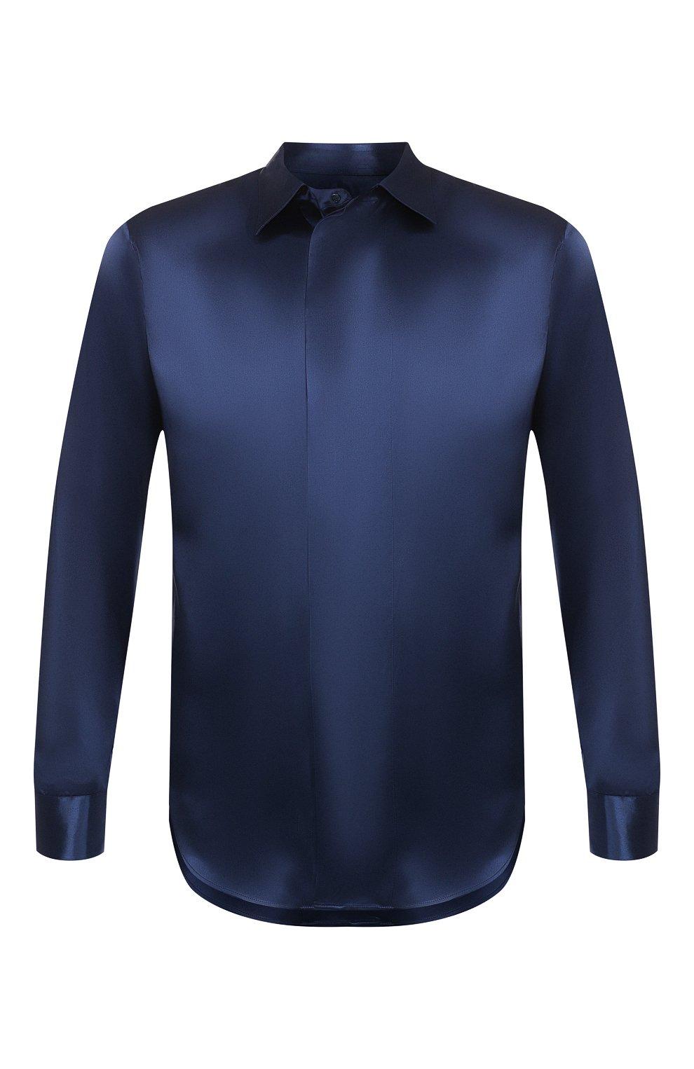 Мужская шелковая рубашка GIORGIO ARMANI темно-синего цвета, арт. 9WGCCZSS/TZ429   Фото 1