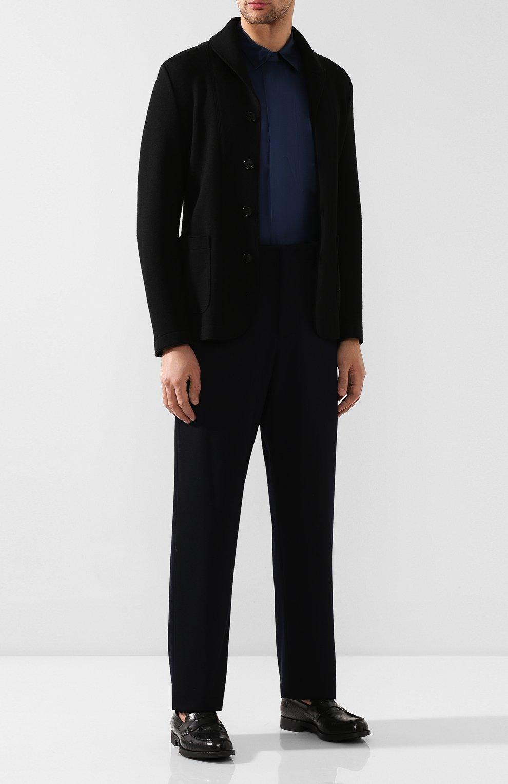 Мужская шелковая рубашка GIORGIO ARMANI темно-синего цвета, арт. 9WGCCZSS/TZ429   Фото 2
