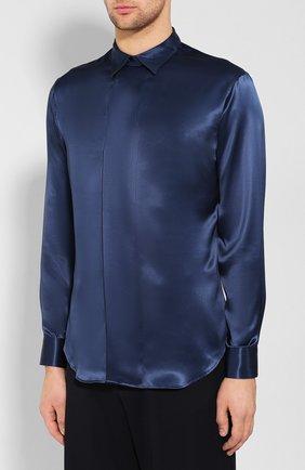 Мужская шелковая рубашка GIORGIO ARMANI темно-синего цвета, арт. 9WGCCZSS/TZ429   Фото 3
