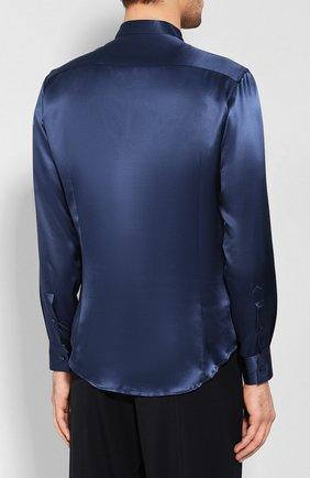 Мужская шелковая рубашка GIORGIO ARMANI темно-синего цвета, арт. 9WGCCZSS/TZ429   Фото 4