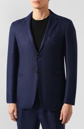 Мужской костюм из смеси кашемира и шелка KNT синего цвета, арт. UAS0101K01S83 | Фото 2