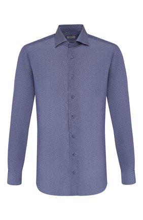Мужская рубашка из смеси шелка и хлопка ZILLI темно-синего цвета, арт. MFS-11004-84080/RZ01 | Фото 1