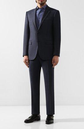 Мужская рубашка из смеси шелка и хлопка ZILLI темно-синего цвета, арт. MFS-11004-84080/RZ01 | Фото 2