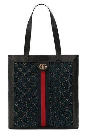 Мужская комбинированная сумка-шопер gg GUCCI синего цвета, арт. 523781/9JTNT | Фото 1