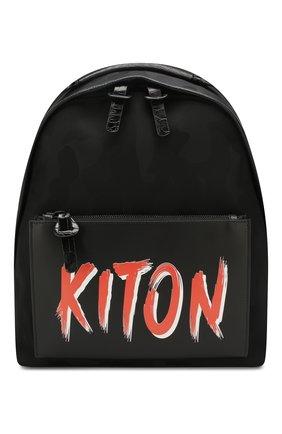 Мужской рюкзак с отделкой из кожи аллигатора KITON черного цвета, арт. UBC00KN00806/AMIS | Фото 1