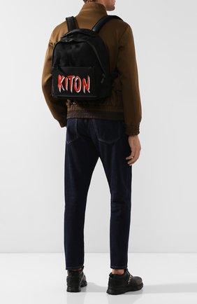 Мужской рюкзак с отделкой из кожи аллигатора KITON черного цвета, арт. UBC00KN00806/AMIS | Фото 2