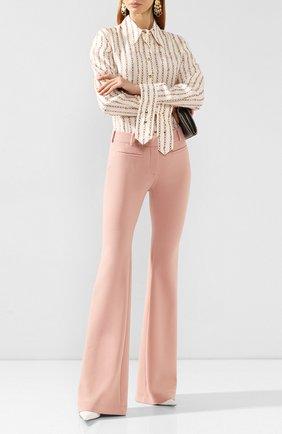 Женские шерстяные расклешенные брюки со стрелками TOM FORD розового цвета, арт. PAW159-FAX431 | Фото 2