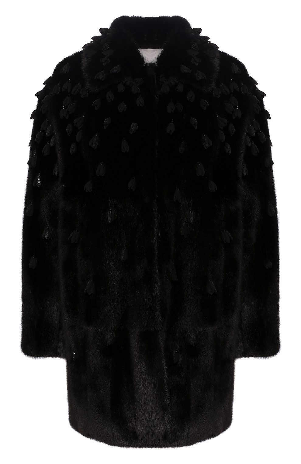 Женская шуба из меха норки VALENTINO черного цвета, арт. SF3FA7331BF | Фото 1