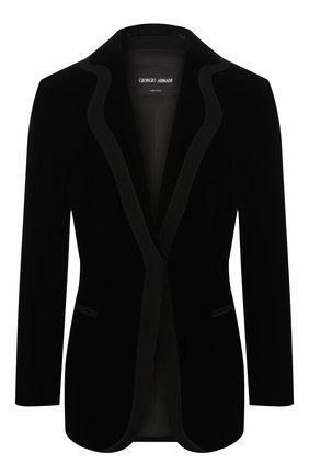 Женский жакет из смеси вискозы и шелка GIORGIO ARMANI черного цвета, арт. 9WHGG0CL/T0024 | Фото 1 (Длина (для топов): Стандартные; Материал подклада: Шелк; Рукава: Длинные; Случай: Формальный; 1-2-бортные: Однобортные; Женское Кросс-КТ: Жакет-одежда; Материал внешний: Вискоза)