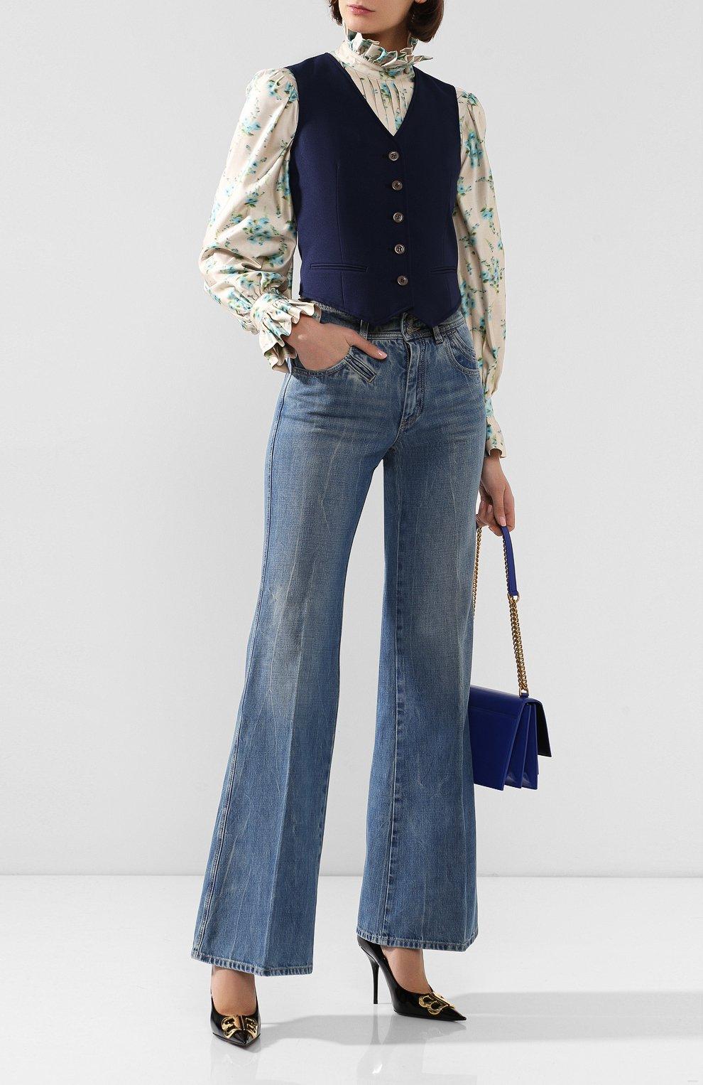 Женский жилет GUCCI синего цвета, арт. 582516/Z798C | Фото 2 (Материал внешний: Синтетический материал; Женское Кросс-КТ: Жилет-одежда; Длина (верхняя одежда): Короткие; Материал подклада: Вискоза; Статус проверки: Проверена категория)