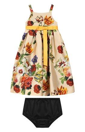 Женский комплект из платья и шорт DOLCE & GABBANA бежевого цвета, арт. L22DA2/HS18Q | Фото 1
