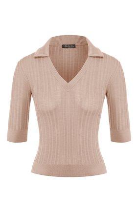 Женский пуловер из смеси кашемира и шелка LORO PIANA светло-розового цвета, арт. FAI7536   Фото 1