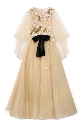 Детское платье MISCHKA AOKI золотого цвета, арт. FW19250/10-12   Фото 1
