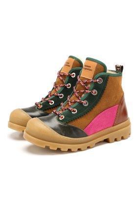 Детские кожаные ботинки MAISON MANGOSTAN розового цвета, арт. 9310-004/28-34 | Фото 1