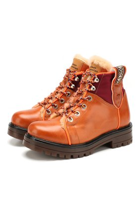 Детские кожаные ботинки MAISON MANGOSTAN коричневого цвета, арт. 9316-003/28-34 | Фото 1