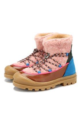 Детские ботинки из кожи и текстиля MAISON MANGOSTAN розового цвета, арт. 9341-002/35-39 | Фото 1