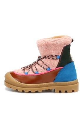 Детские ботинки из кожи и текстиля MAISON MANGOSTAN розового цвета, арт. 9341-002/35-39 | Фото 2