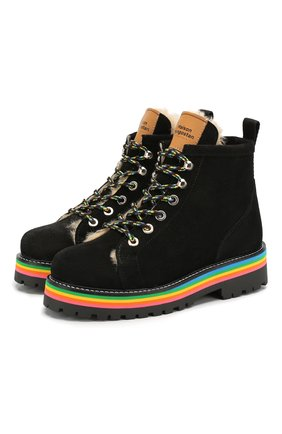 Детские замшевые ботинки MAISON MANGOSTAN черного цвета, арт. 9393-000/28-34 | Фото 1