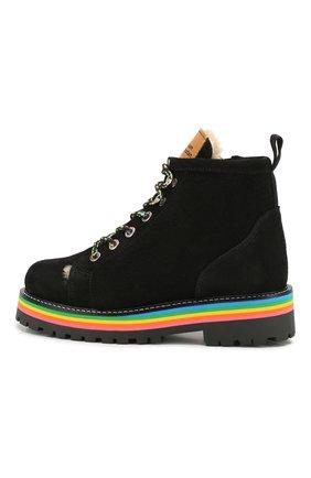 Детские замшевые ботинки MAISON MANGOSTAN черного цвета, арт. 9393-000/28-34 | Фото 2
