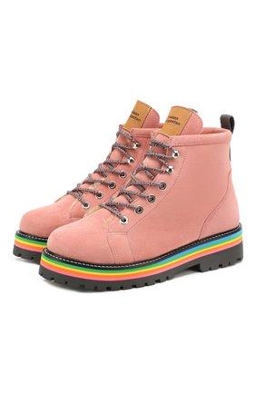 Детские замшевые ботинки MAISON MANGOSTAN розового цвета, арт. 9393-001/28-34 | Фото 1