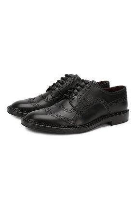 Мужской кожаные дерби DOLCE & GABBANA черного цвета, арт. A10472/AA385 | Фото 1