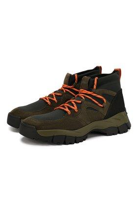 Мужские комбинированные ботинки TOD'S хаки цвета, арт. XXM81B0BX70M7Q   Фото 1