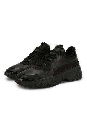 Мужские кожаные кроссовки TOD'S черного цвета, арт. XXM57B0BL41LZK | Фото 1