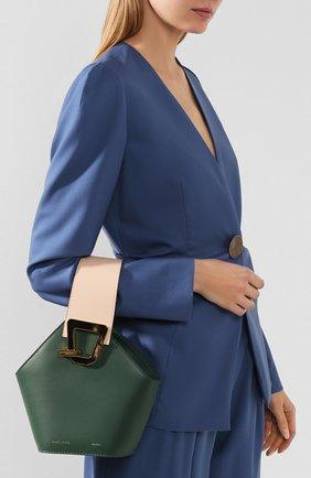 Женская сумка johnny mini DANSE LENTE зеленого цвета, арт. MINI J0HNNY/GARDEN/BLUSH G0LD | Фото 2 (Сумки-технические: Сумки через плечо, Сумки top-handle; Материал: Натуральная кожа; Размер: mini; Ремень/цепочка: На ремешке)