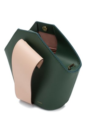 Женская сумка johnny mini DANSE LENTE зеленого цвета, арт. MINI J0HNNY/GARDEN/BLUSH G0LD | Фото 4 (Сумки-технические: Сумки через плечо, Сумки top-handle; Материал: Натуральная кожа; Размер: mini; Ремень/цепочка: На ремешке)