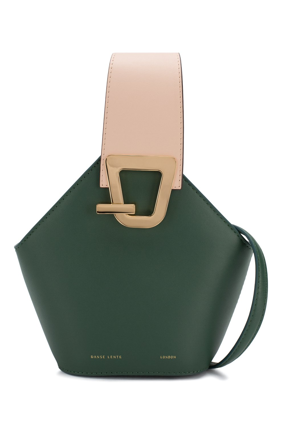 Женская сумка johnny mini DANSE LENTE зеленого цвета, арт. MINI J0HNNY/GARDEN/BLUSH G0LD | Фото 6 (Сумки-технические: Сумки через плечо, Сумки top-handle; Материал: Натуральная кожа; Размер: mini; Ремень/цепочка: На ремешке)
