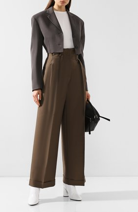 Женские брюки из смеси шерсти и вискозы ACNE STUDIOS коричневого цвета, арт. AK0171 | Фото 2