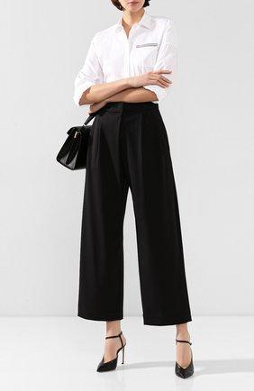 Женские шерстяные брюки BRUNELLO CUCINELLI черного цвета, арт. MB526P7128 | Фото 2 (Материал внешний: Шерсть; Женское Кросс-КТ: Брюки-одежда; Длина (брюки, джинсы): Стандартные)