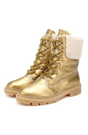 Женские кожаные ботинки CASADEI золотого цвета, арт. 1R143N0211INNSB1400 | Фото 1
