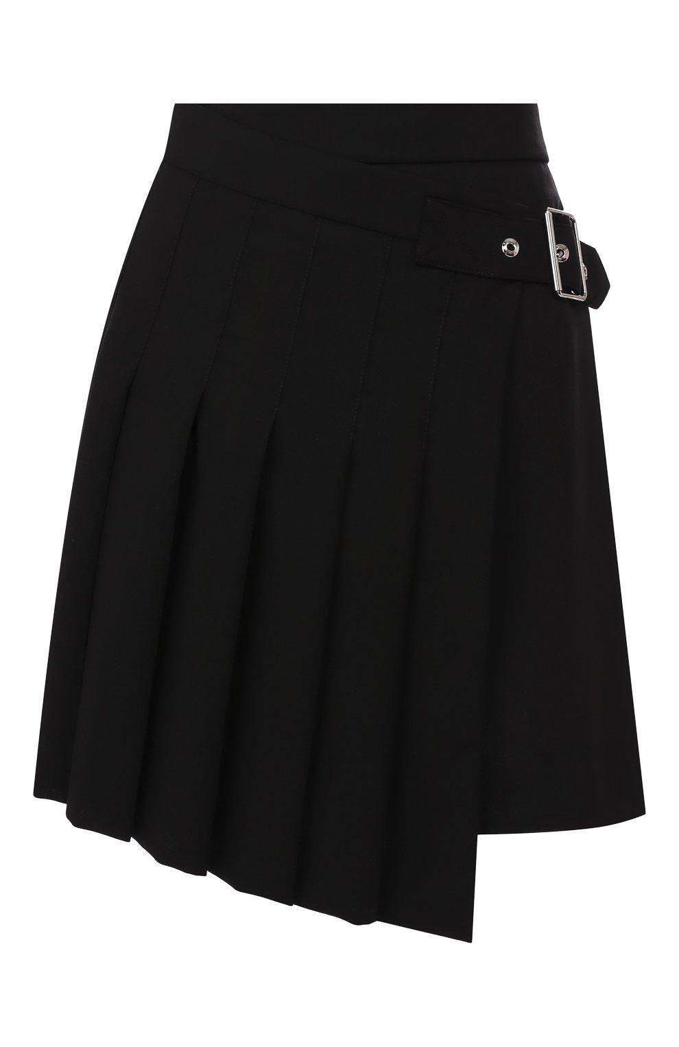 Женская шерстяная юбка MCQ SWALLOW черного цвета, арт. 559425/RNA03   Фото 1 (Материал внешний: Шерсть; Длина Ж (юбки, платья, шорты): Мини; Материал подклада: Вискоза)