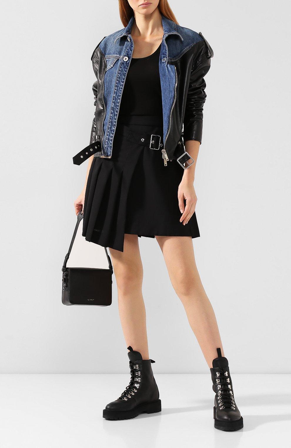 Женская шерстяная юбка MCQ SWALLOW черного цвета, арт. 559425/RNA03   Фото 2 (Материал внешний: Шерсть; Длина Ж (юбки, платья, шорты): Мини; Материал подклада: Вискоза)