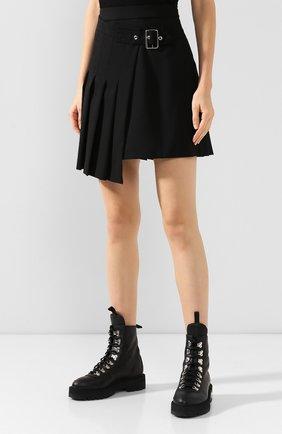 Женская шерстяная юбка MCQ SWALLOW черного цвета, арт. 559425/RNA03   Фото 3 (Материал внешний: Шерсть; Длина Ж (юбки, платья, шорты): Мини; Материал подклада: Вискоза)