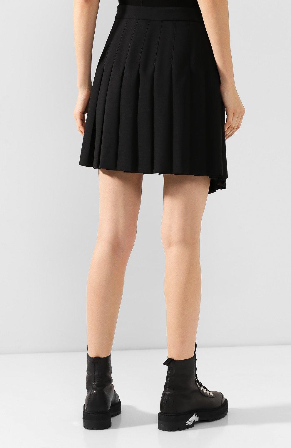 Женская шерстяная юбка MCQ SWALLOW черного цвета, арт. 559425/RNA03   Фото 4 (Материал внешний: Шерсть; Длина Ж (юбки, платья, шорты): Мини; Материал подклада: Вискоза)