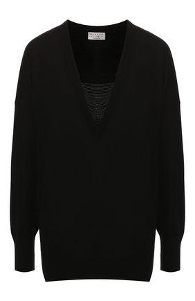 Женский пуловер из кашемира и шелка BRUNELLO CUCINELLI черного цвета, арт. M13832702 | Фото 1 (Длина (для топов): Стандартные; Материал внешний: Шелк, Кашемир, Шерсть; Рукава: Длинные; Женское Кросс-КТ: Пуловер-одежда; Стили: Кэжуэл)