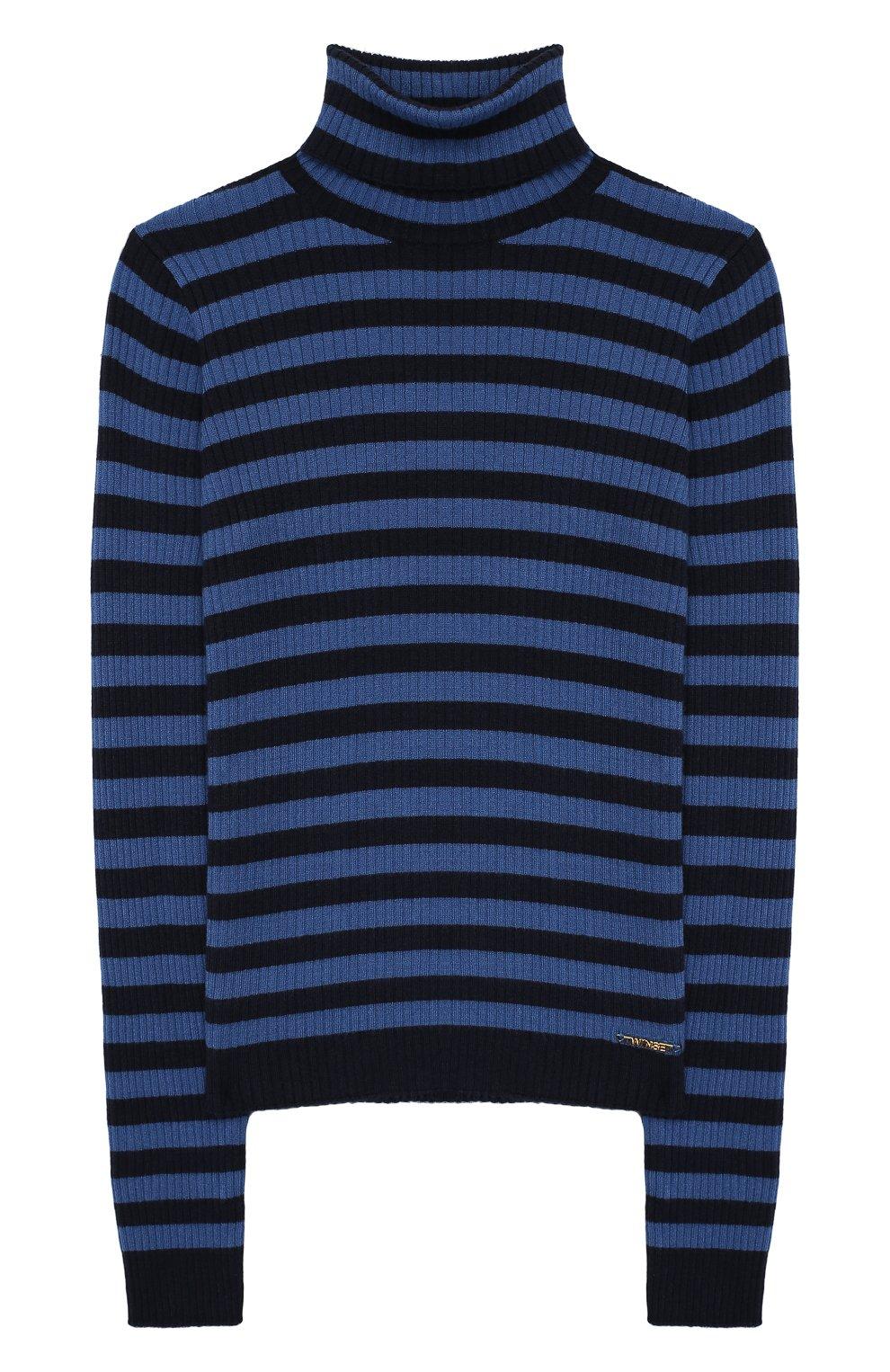 Детская водолазка TWINSET синего цвета, арт. 192GJ3170/6A-10A | Фото 1 (Кросс-КТ: водолазка; Рукава: Длинные; Материал внешний: Синтетический материал; Ростовка одежда: 6 лет | 116 см, 8 лет | 128 см)