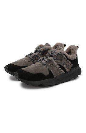 Мужские замшевые кроссовки FLOWER MOUNTAIN черного цвета, арт. 0012014302.02   Фото 1