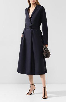 Женское шерстяное платье THE ROW темно-синего цвета, арт. 4613W1409 | Фото 2 (Рукава: Длинные; Длина Ж (юбки, платья, шорты): Миди; Материал внешний: Шерсть; Случай: Повседневный)