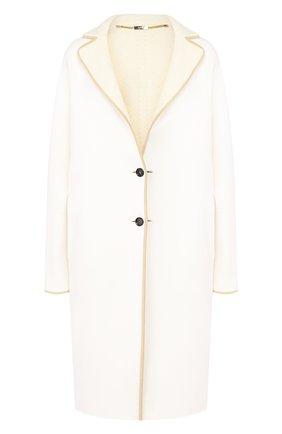 Женское кашемировое пальто KITON белого цвета, арт. D48626K05I38   Фото 1 (Материал внешний: Шерсть, Кашемир; Материал утеплителя: Шерсть; Рукава: Длинные; Длина (верхняя одежда): До колена; 1-2-бортные: Однобортные)