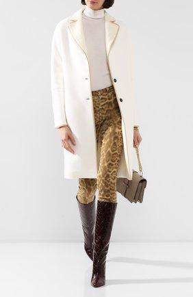 Женское кашемировое пальто KITON белого цвета, арт. D48626K05I38   Фото 2 (Материал внешний: Шерсть, Кашемир; Материал утеплителя: Шерсть; Рукава: Длинные; Длина (верхняя одежда): До колена; 1-2-бортные: Однобортные)
