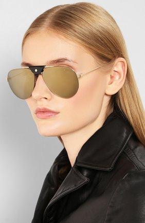 Женские солнцезащитные очки CARTIER золотого цвета, арт. CT0166 007 | Фото 2