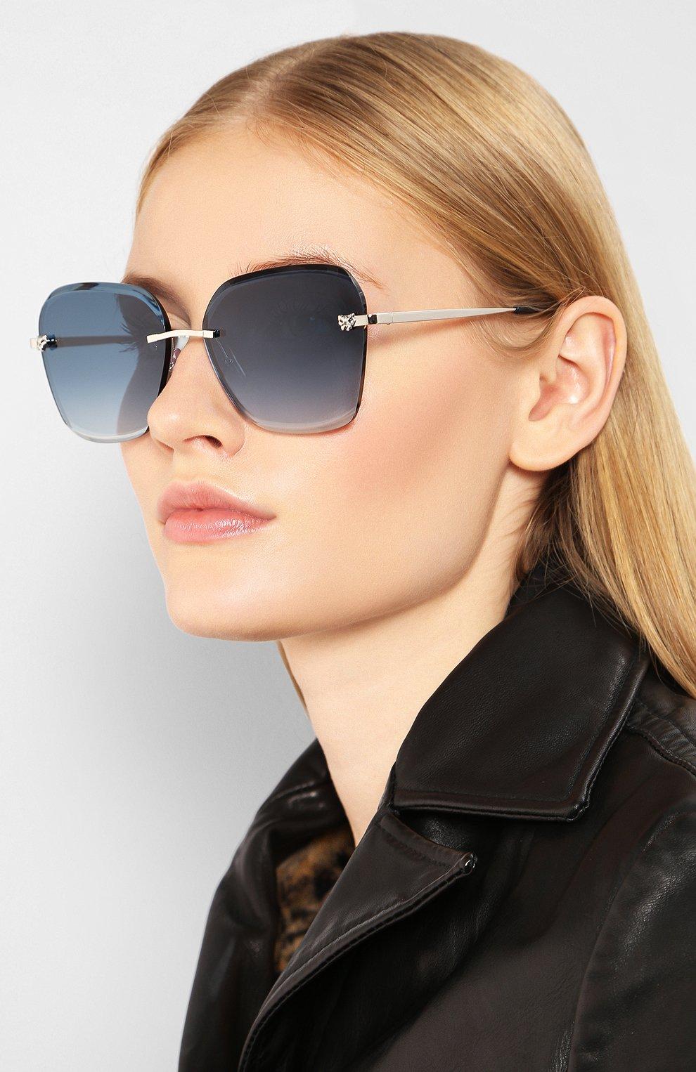 Женские солнцезащитные очки CARTIER синего цвета, арт. CT0147 003   Фото 2