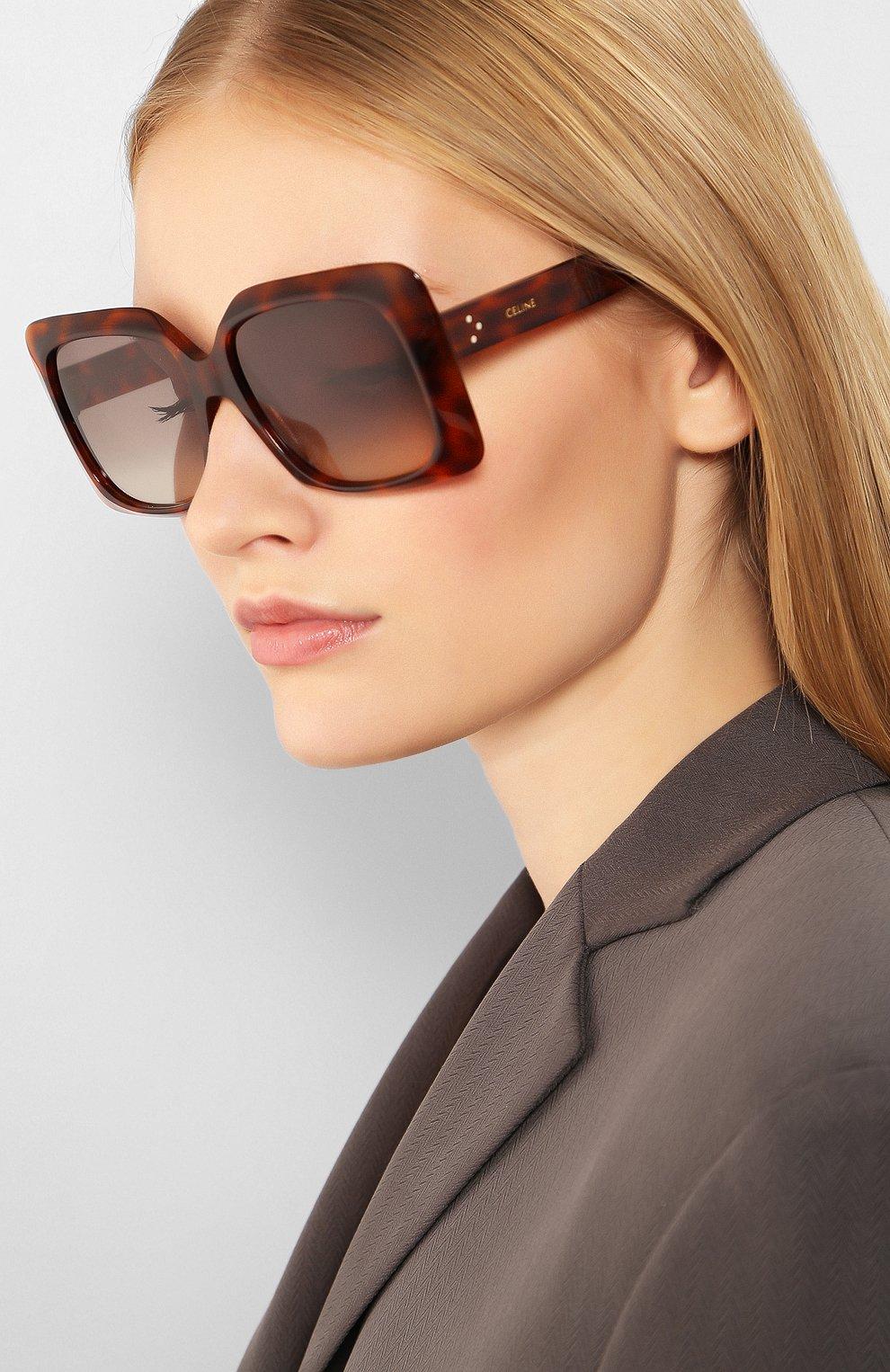 Женские солнцезащитные очки CELINE EYEWEAR коричневого цвета, арт. CL40096I 55F | Фото 2