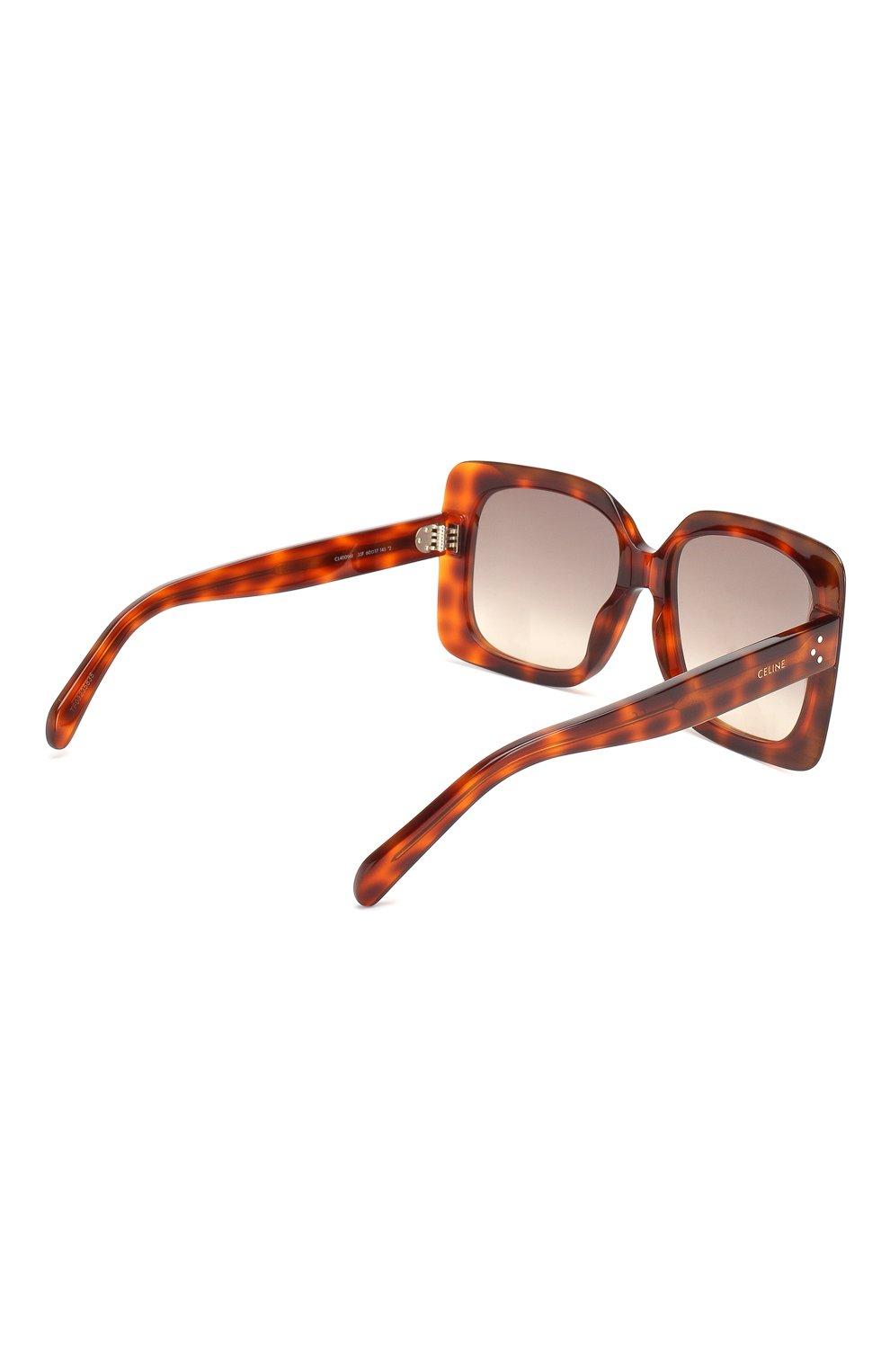 Женские солнцезащитные очки CELINE EYEWEAR коричневого цвета, арт. CL40096I 55F | Фото 4