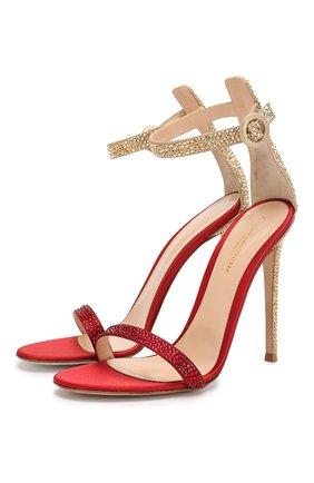 Женские текстильные босоножки GIANVITO ROSSI красного цвета, арт. G61343.11RIC.RBUSYME   Фото 1