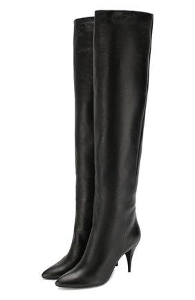 Женские кожаные ботфорты kiki SAINT LAURENT черного цвета, арт. 592347/1K400 | Фото 1
