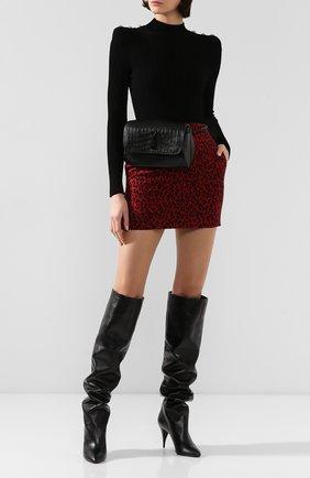 Женские кожаные ботфорты kiki SAINT LAURENT черного цвета, арт. 592347/1K400 | Фото 2